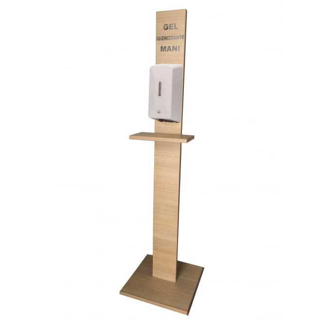 Colonnina-in-legno-con-Dosa-Sapone-Gel-Automatico-Fotocellula